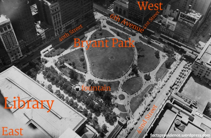 Bryant Park 1931 photograph showing what the park layout was in 1919. The library building at the east edge of the park is in the bottom left. The fountain (appears as a disk casting a shadow) is in the middle of eastern edge of the park. Russell is apparently standing along the eastern edge of the park (roughly at the fountain) with his back to the library, facing west - which would be diagonally toward to the upper right corner of the photo. Image via NYC Parks Dept.