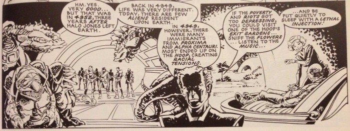 Exit gardens mentioned in The Ballad of Halo Jones, Book Two Prologue. Written by Alan Moore, art by Ian Gibson