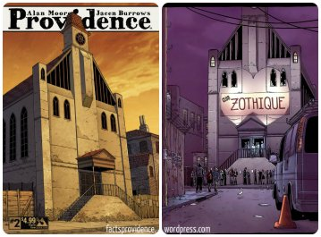 The church on the cover of Providence #2 appears in Courtyard and Neonomicon as Club Zothique. Art by Jacen Burrows