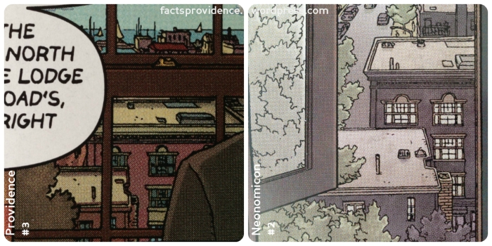 The views of Salem/Innsmouth from the hotel window in Providence (left) and Neonomicon (right.) Art by Jacen Burrows.