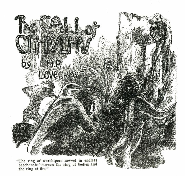 """The Call of Cthulhu"" by Hugh Rankin, Weird Tales (February 1928)"