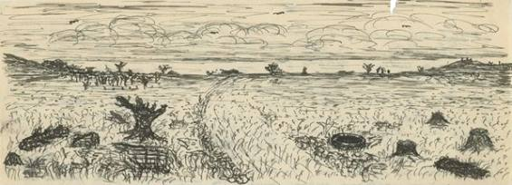 Lovecraft's sketch of the blasted heath from