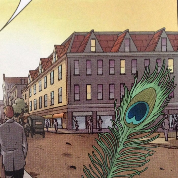 Distinctive building theoretically west (setting sun) of Suydam's home. Detail of Providence #2, P26 - art by Jacen Burrows