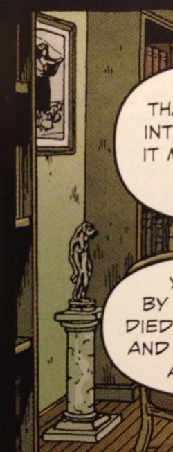 Two mysteries in one panel - what art is that? what statue is that? Detail of Providence #2 P11,p1 - art by Jacen Burrows
