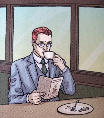 Robert Black reading the Church of St. Jude's parish newsletter. From Providence #3, Page 24, panel 1 - art by Jacen Burrows