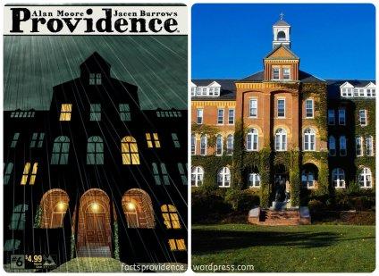 Providence 6 cover, left, and Alumni Hall, right. Photo via Wikipedia.