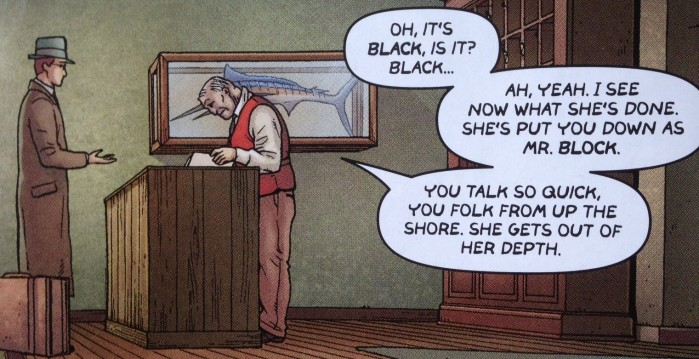 Hillman confusing Robert Black's name - from Providence #3, art by Jacen Burrows