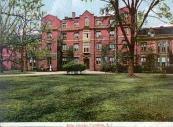 Historic postcard of Butler Hospital. Image via Providence Public Library