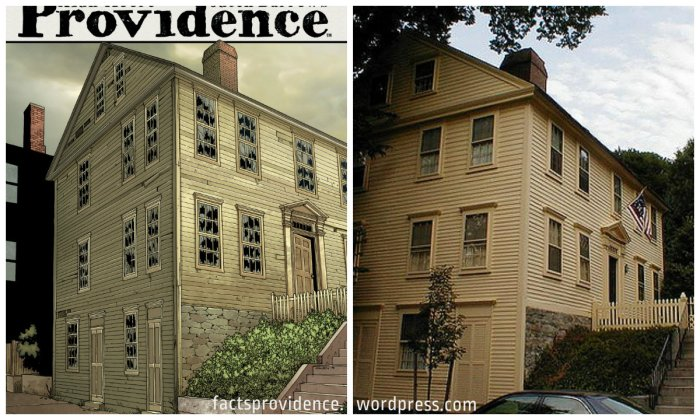 The Shunned House. Left: Providence 9 regular cover, art by Jacen Burrows. Right: photo by Flickr user AKuchling