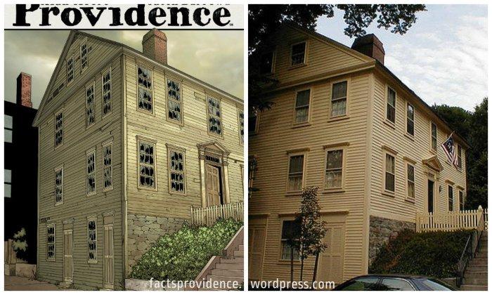 The Shunned House. Left: Providence 9 regular cover, art by Jacen Burrows. Right: photo by Flickr user AKuchling