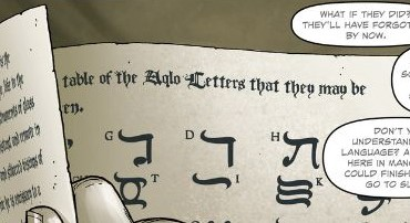 Aklo (or Aqlo) lettering from Providence 6 P1,p3 (detail) - art by Jacen Burrows, lettering by Kurt Hathaway