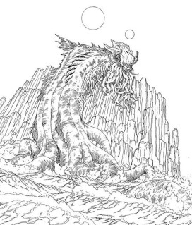 Jacen Burrows Cthulhu (detail) - drawing for Providence #1 Pantheon variant cover