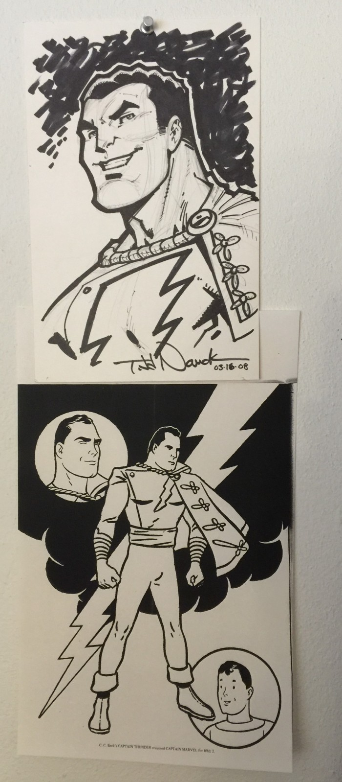 Todd Nauck Shazam sketches on Hathaway's studio wall