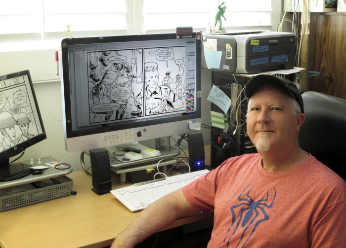 Providence letterer Kurt Hathaway's at his workstation. Photo courtesy Hathaway