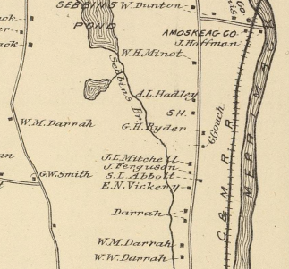 Map detail showing Amoskeag, Co., Sebbins Brook, and multiple Darrah places